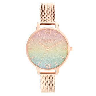 Olivia Burton Rainbow Glitter Rose Gold Tone Bracelet Watch - Product number 8208948