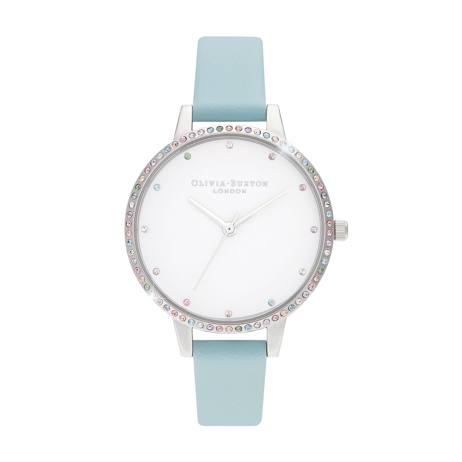 Olivia Burton Rainbow Bezel Turquoise Leather Strap Watch - Product number 8208956