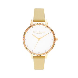 Olivia Burton Rainbow Bezel Gold Leather Strap Watch - Product number 8208964