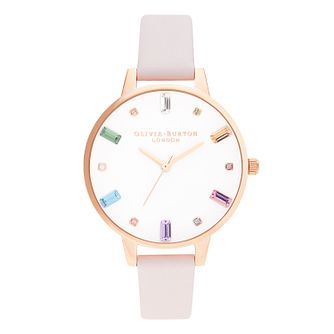 Olivia Burton Rainbow Blossom Pink Leather Strap Watch - Product number 8208980