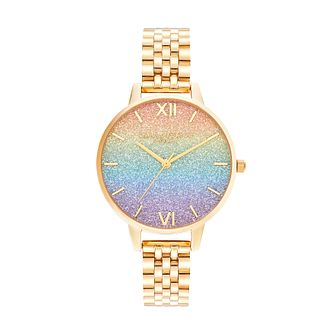 Olivia Burton Rainbow Glitter Gold Tone Bracelet Watch - Product number 8208999