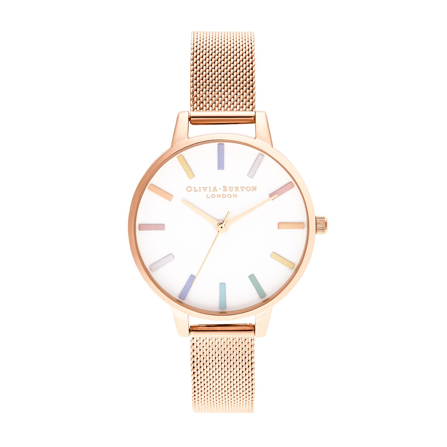 Olivia Burton Rainbow Rose Gold Tone Mesh Bracelet Watch - Product number 8209006