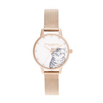 Olivia Burton Illustrated Kitten Gold Tone Bracelet Watch - Product number 8209014