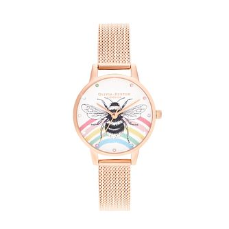 Olivia Burton Rainbow Bee Rose Gold Tone Mesh Bracelet Watch - Product number 8209057
