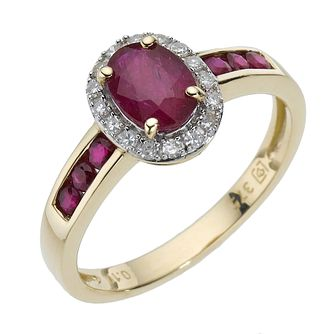 9ct Yellow Gold Diamond & Ruby Cluster Ring - Product number 8211965