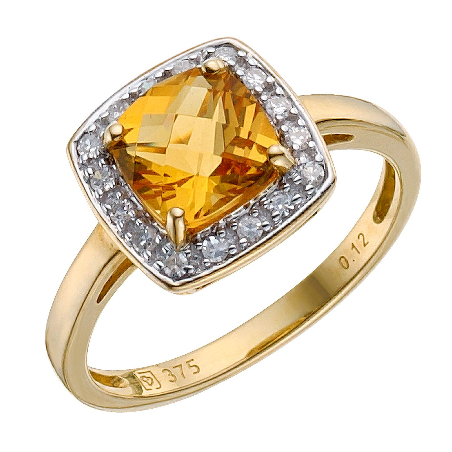 9ct Yellow Gold Citrine & 0.12ct Diamond Ring - Product number 8212104