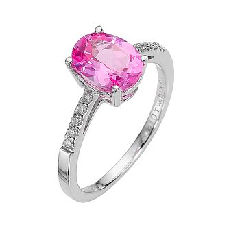 9ct White Gold Created Pink Sapphire & 0.15ct Diamond Ring - Product number 8212767