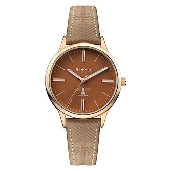 Barbour Embleton Ladies' Rose Gold Plated Brown Strap Watch - Product number 8216118