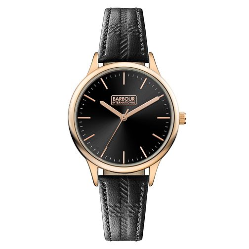 Barbour Embleton Ladies' Rose Gold Plated Black Strap Watch - Product number 8216126