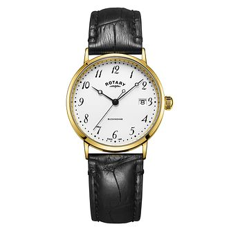 Rotary Buckingham Men's 9ct Yellow Gold Black Strap Watch - Product number 8216673