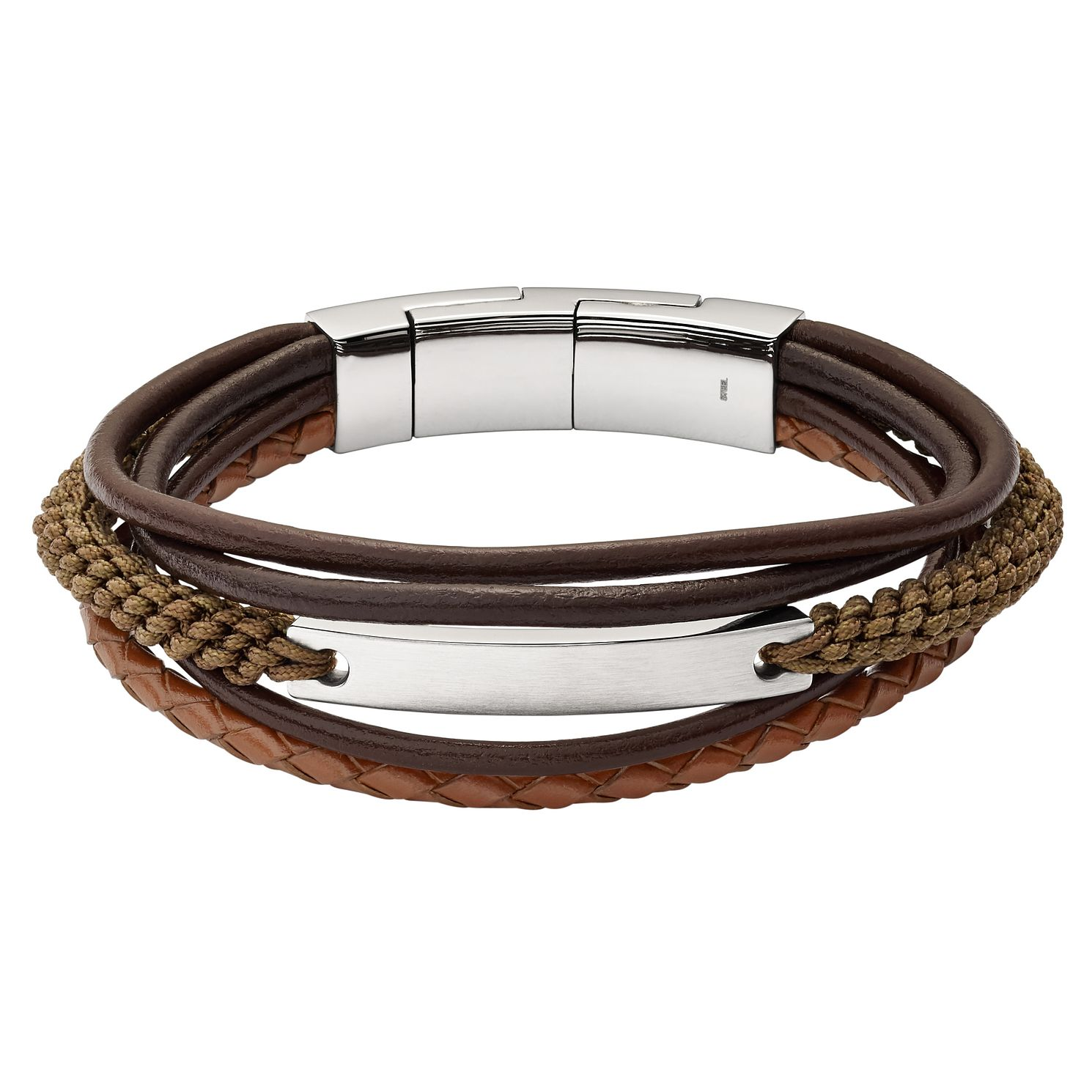 Fossil Vintage Casual Men's Stainless Steel Leather Bracelet - Product number 8217270