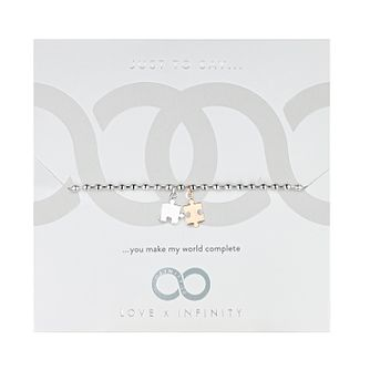 Love x Infinity Silver & Rose Gold Tone Jigsaw Bracelet - Product number 8220123