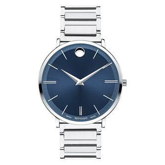 Movado Ultraslim Men's Stainless Steel Blue Dial Watch - Product number 8220352