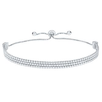Silver Cubic Zirconia Triple Row Bolo Bracelet - Product number 8221367