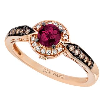 Le Vian 14ct Strawberry Gold Garnet 0.18ct Diamond Ring - Product number 8222940