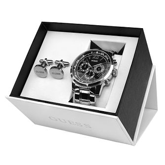 Guess Men's Stainless Steel Watch & Cufflink Gift Set - Product number 8228671