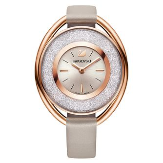 Swarovski Crystalline Ladies' Oval Pink Leather Strap Watch - Product number 8228906