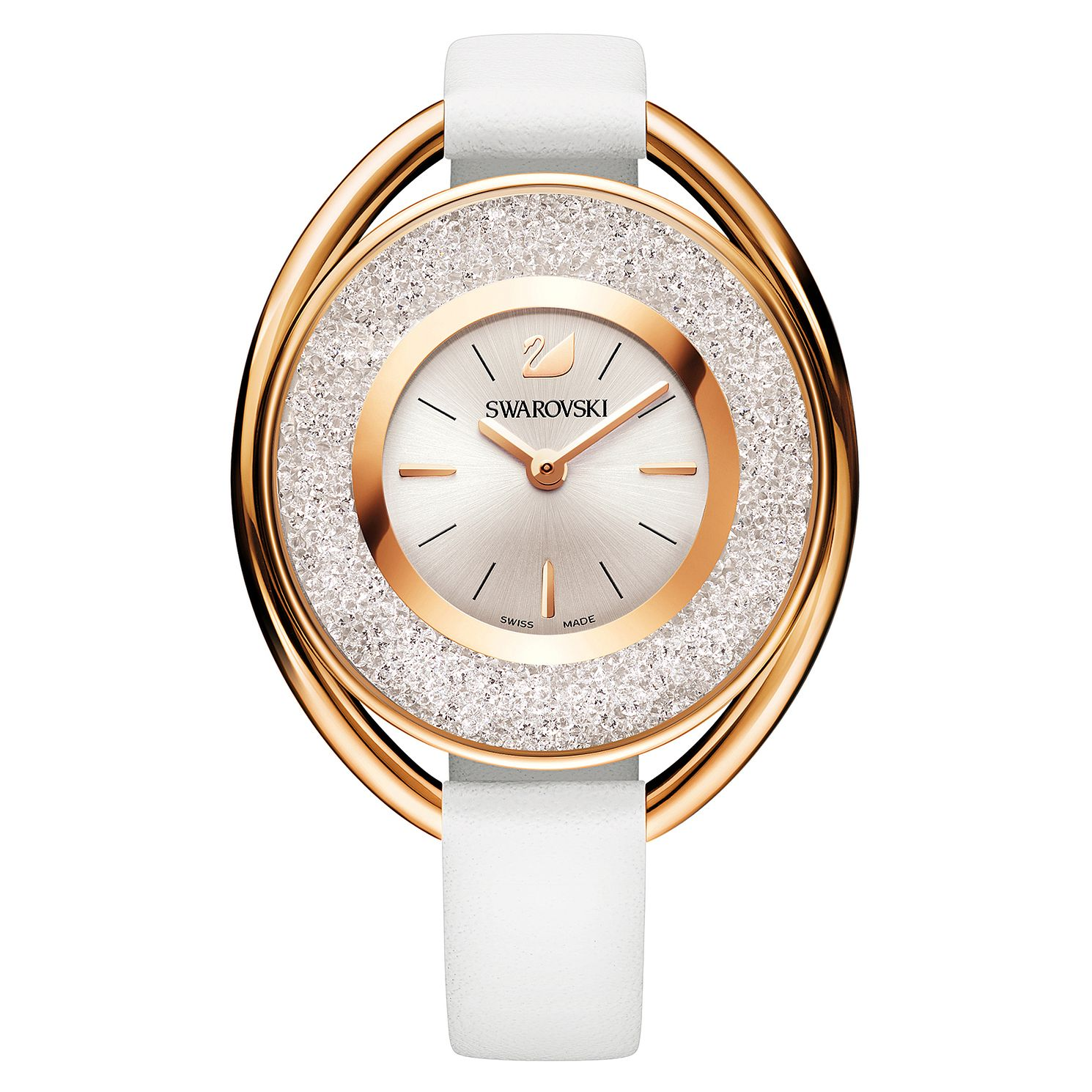 Swarovski Crystalline Ladies' Oval White Leather Strap Watch - Product number 8229082