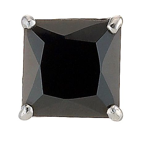 9ct White Gold Black Cubic Zirconia 6mm Square Stud Earring - Product number 8232628