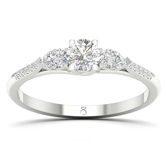 The Diamond Story Platinum 3/4ct Diamond Pear Shoulder Ring - Product number 8233454