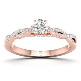 The Diamond Story 18ct Rose Gold 0.40ct Diamond Twist Ring - Product number 8234507
