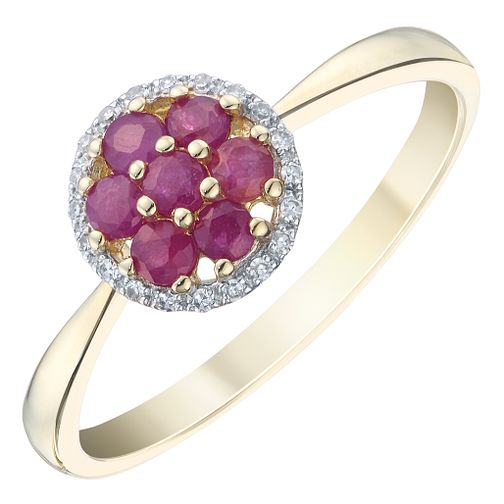 9ct Yellow Gold Ruby & Diamond Ring - Product number 8235961