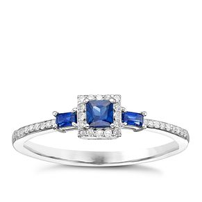 18ct White Gold Blue Sapphire & Diamond Solitaire Ring - Product number 8237913