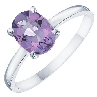 Sterling Silver Amethyst & Diamond Solitaire Ring - Product number 8238200