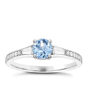 18ct White Gold Aqua & 1/10ct Diamond Solitaire Ring - Product number 8238650