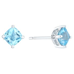 Sterling Silver Swiss Blue Topaz & Diamond Earrings - Product number 8239401