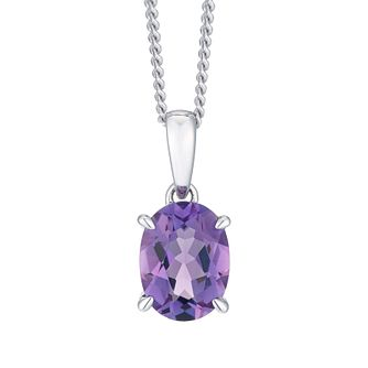 Sterling Silver Amethyst & Diamond Solitaire Pendant - Product number 8239827
