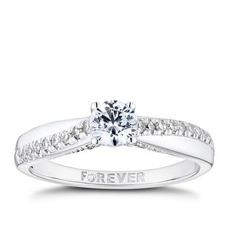 18ct White Gold 1/2ct Solitaire Forever Diamond Ring - Product number 8342865