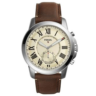Fossil Men's Brown Leather Strap Hybrid Smartwatch - Product number 8344191