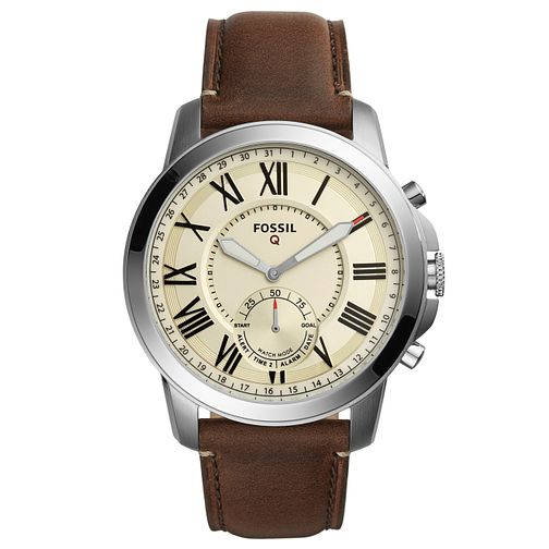 Fossil Q Men's Brown Leather Strap Hybrid Smartwatch - Product number 8344191