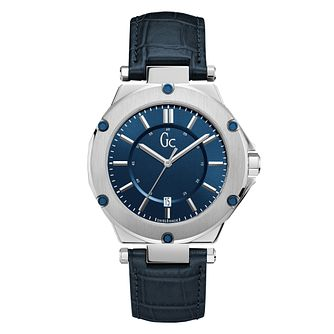 Gc Gc-3 Men's Blue Leather Strap Watch - Product number 8346909