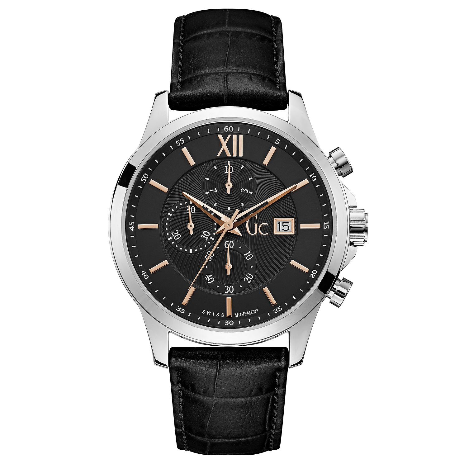 Gc Men's Black Leather Strap Watch - Product number 8346968