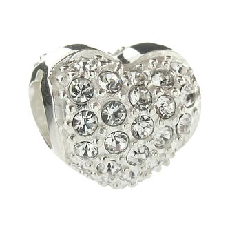Truth Sterling Silver White Crystal Love Heart Bead - Product number 8347956