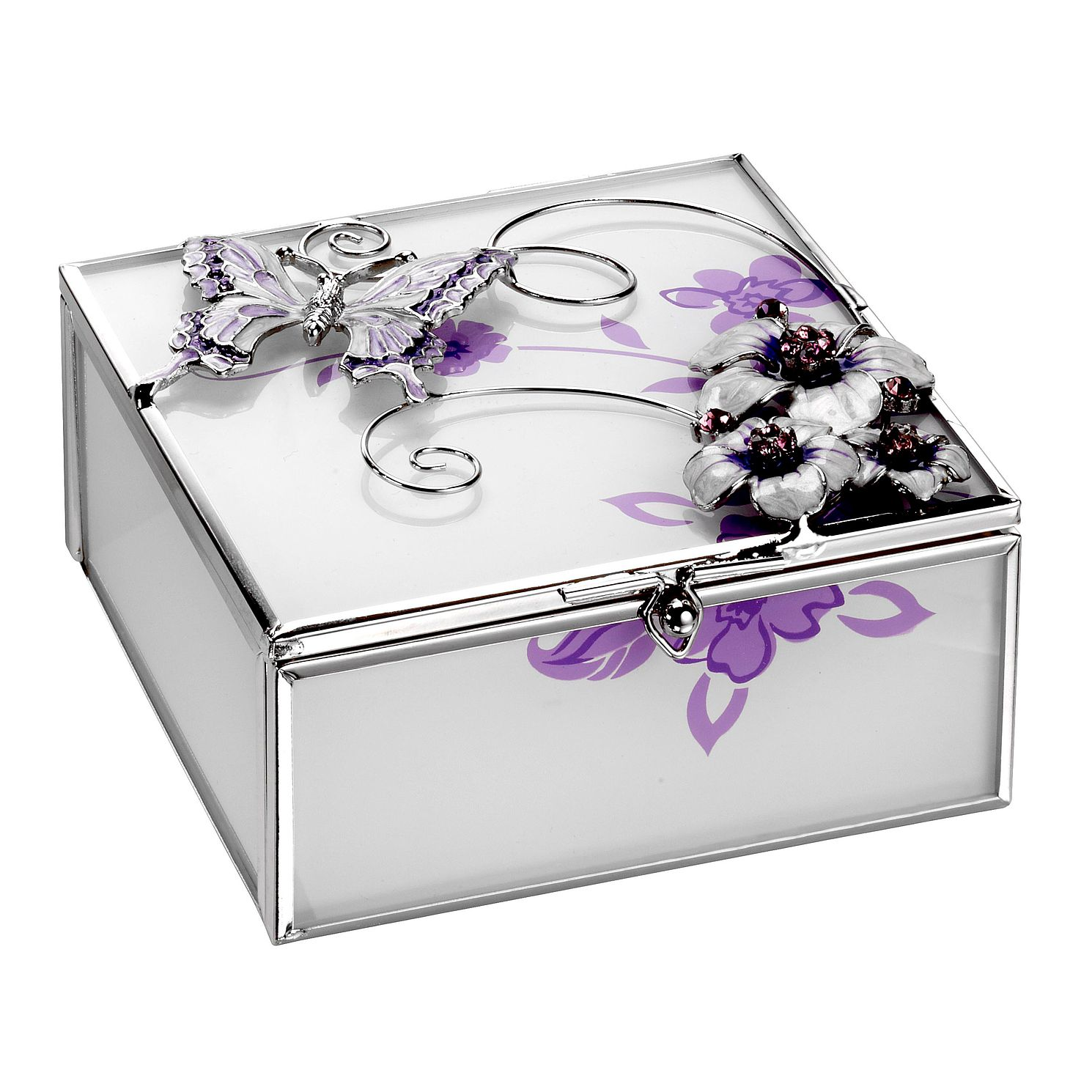 Juliana Purple Butterfly & Flower Glass Trinket Box - Product number 8349118