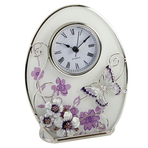 Juliana Purple Butterfly & Flower Glass Mantel Clock - Product number 8349134