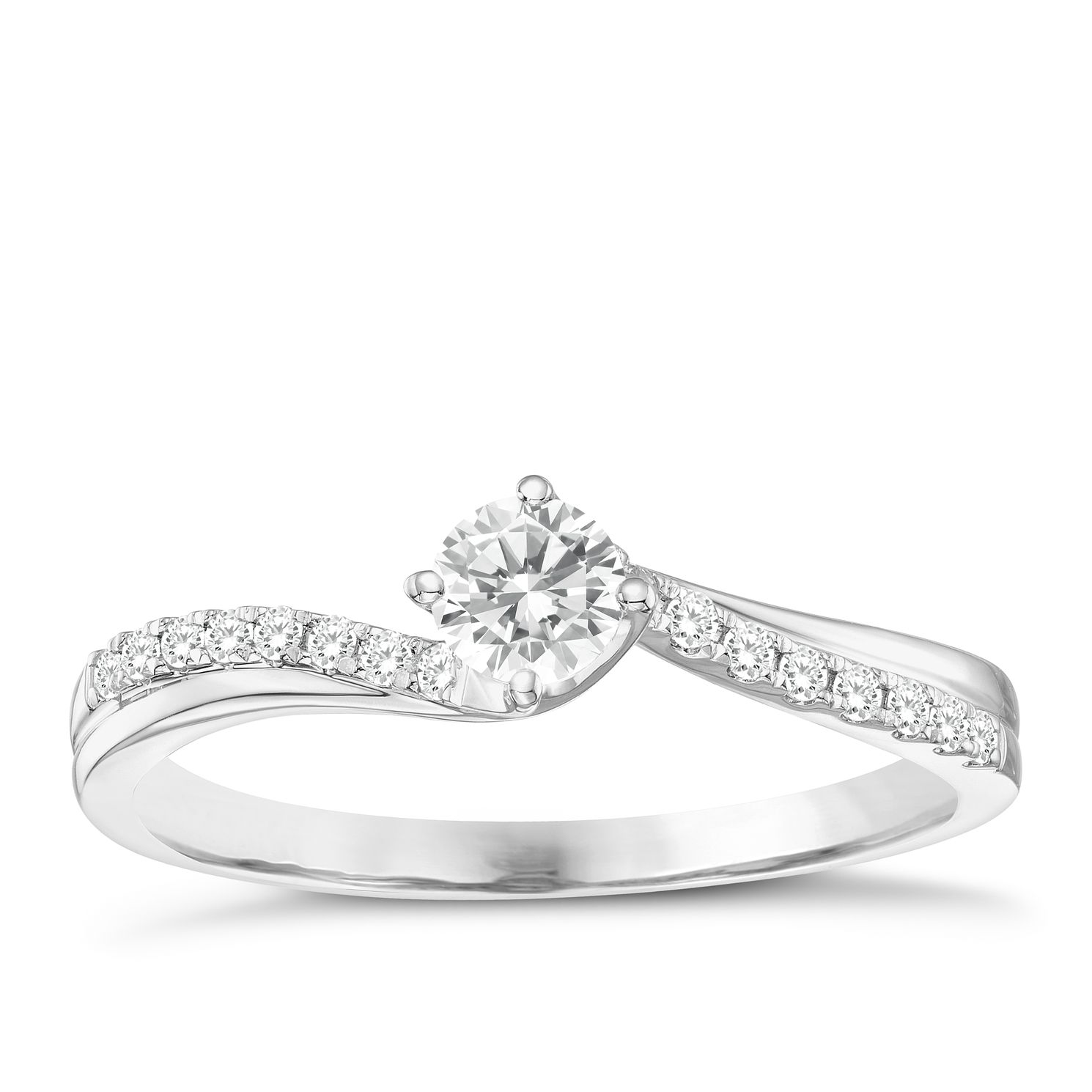 18ct White Gold 0.33ct Total Diamond Solitaire Twist Ring - Product number 8349312