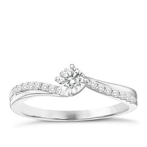 18ct White Gold 1/3ct Solitaire Twist Diamond Ring - Product number 8349312