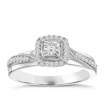 9ct White Gold 1/5ct Cushion Halo Twist Diamond Ring - Product number 8350256