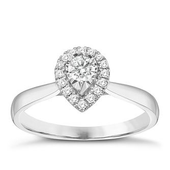 9ct White Gold 1/4ct Pear Shaped Halo Diamond Ring - Product number 8350493