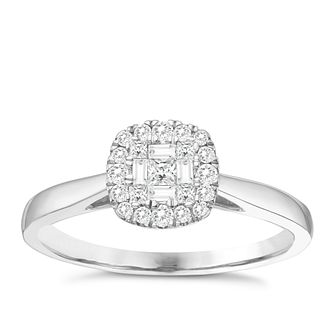 9ct White Gold 1/4ct Baguette Diamond Cluster Ring - Product number 8350949