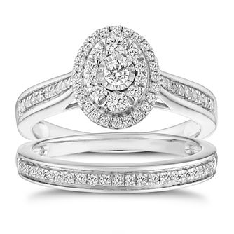 9ct White Gold 0.50ct Oval Double Halo Diamond Bridal Set - Product number 8353263