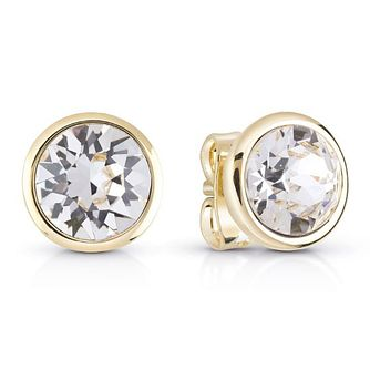 Guess Gold Plated Clear Crystal Stud Earrings - Product number 8359121