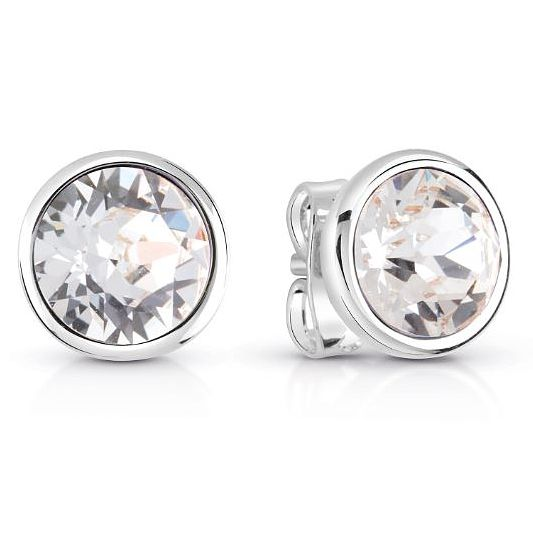 Guess Rhodium Plated Clear Crystal Stud Earrings - Product number 8359148