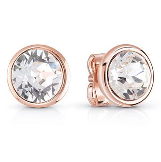 Guess Rose Gold Plated Clear Crystal Stud Earrings - Product number 8359156