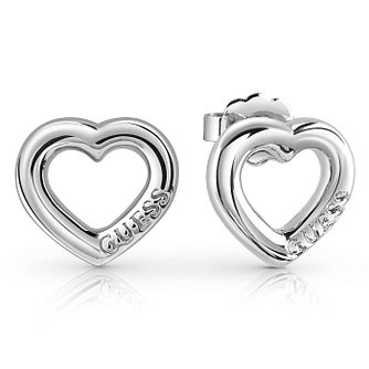 Guess Rhodium Plated Bold Heart Stud Earrings - Product number 8359164
