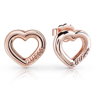 Guess Rose Gold Plated Bold Heart Stud Earrings - Product number 8359172
